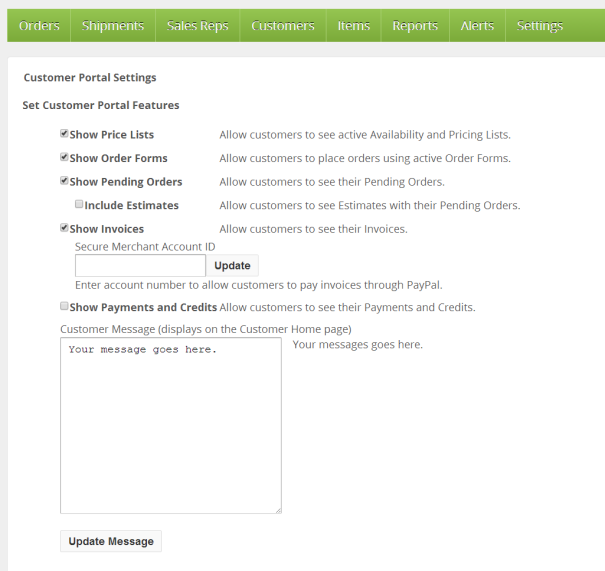 Customer Portal Settings