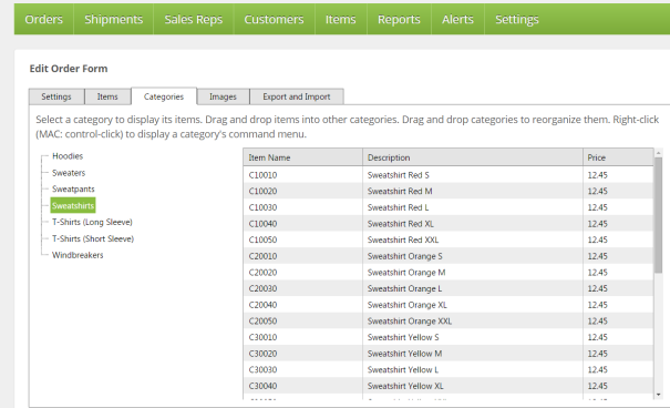 Edit List or Form Categories Tab