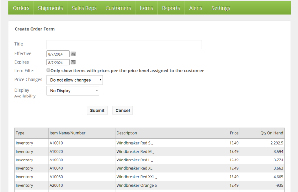 Create Order Form/Price List settings page